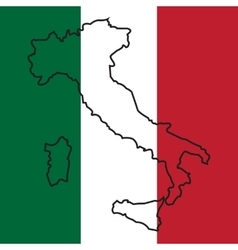 map of Italy on national flag vector image vector image