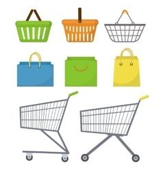 Shopping bag basket trolley cart Icon set vector image