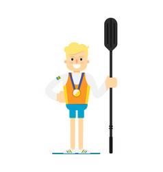 Smiling boat rowing athlete with medal vector