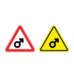 Warning sign mans attention yellow danger man male vector image vector image