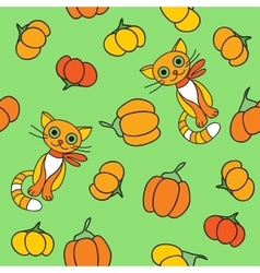 Background with pumpkin and cats vector image vector image