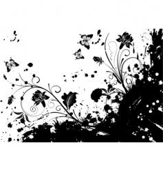 grunge flower frame vector image