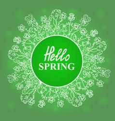 hello spring flower frame vector image