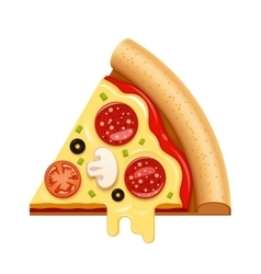 hot pizza slice with sticky cheese and vector image vector image
