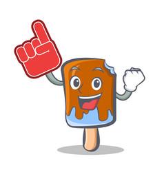 Ice cream character cartoon with foam finger vector