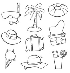 Object summer holiday doodle style vector