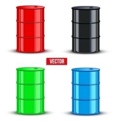 Set of metal oil barrels on white background vector image