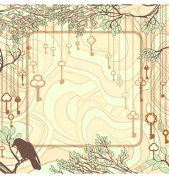 Vintage background with tree branches and antique vector image vector image