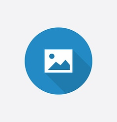 blank photo Flat Blue Simple Icon with long shadow vector image vector image