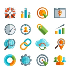 Business SEO Social media marketing flai icon vector image