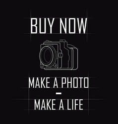 contour drawing of a vintage camera with a slogan vector image vector image