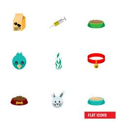 flat icon animal set of vaccine bunny feeding vector image vector image