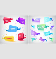 set of 3d origami faceted bubbles banners vector image