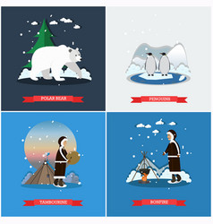 Set of wild north posters banners in flat vector