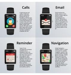 Smartwatch Receiving calls and unread messages vector image vector image