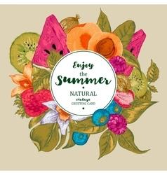Summer Exotic Menu Fruits Card vector image vector image