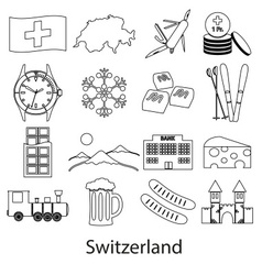 Switzerland country theme outline symbols icons vector image