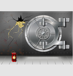 a huge metal round safe door reliable saving of vector image