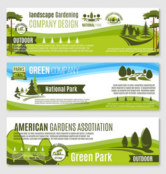 Gardening or green landscape design banners vector