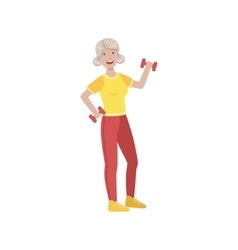 Old Woman Doing Exercises In Gym vector image
