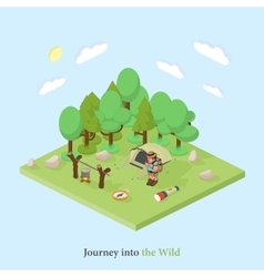 tourist with a backpack into the wild Isometric vector image vector image