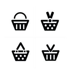4 design shopping cart icon set vector image