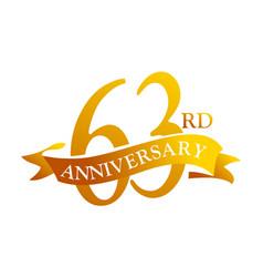 63 year ribbon anniversary vector