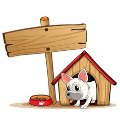 A wooden signboard beside a doghouse vector