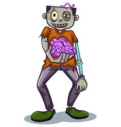 A zombie holding his brain vector