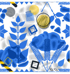 abstract pattern blue ethnic floral elements vector image