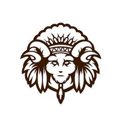 american indian esport logo mascot design goat vector image