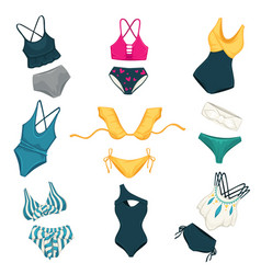 Assortment swimming suits for females fashion vector