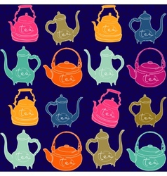 Background with colored teapots Funny pattern vector