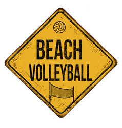 Beach volleyball vintage rusty metal sign vector