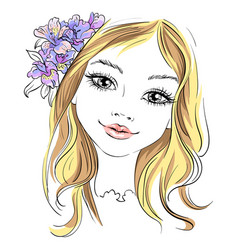 Beautiful fashion girl with flower in hair vector