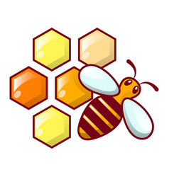 bee honeycomb icon cartoon style vector image