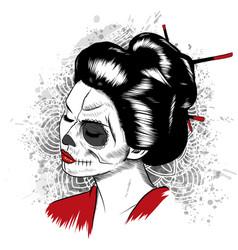 black and white image japanese geisha vector image