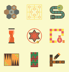 Board games icons set table games for kids vector