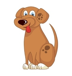 Cartoon smiling light brown spotty puppy vector