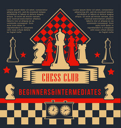 chess pices with clock on chessboard sport club vector image