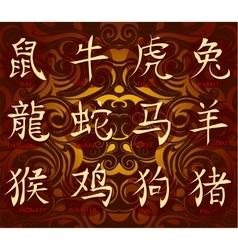 Chinese horoscope hieroglyphs vector image