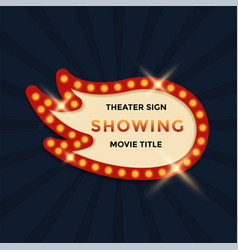 cinema theater retro sign graphic template vector image