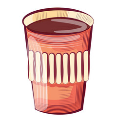 coffee in disposable paper plastic glass isolated vector image