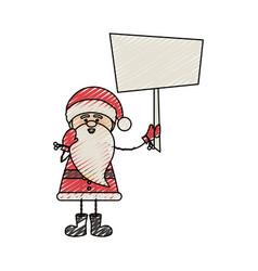 color crayon stripe cartoon of funny santa claus vector image