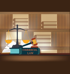 commercial law books on a table and blurred vector image
