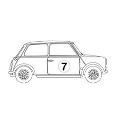 Compact saloon outline drawing vector