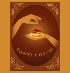 Confectionery sign with cherry cake vector