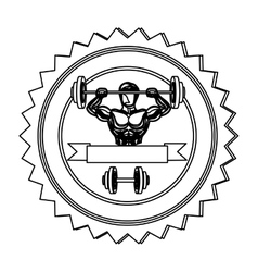 Contour stamp border with muscle man lifting a vector