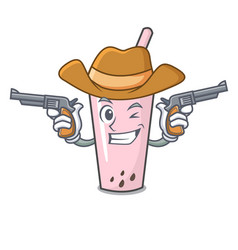 cowboy raspberry bubble tea character cartoon vector image