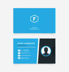 Creative business card with blue color and icon vector